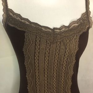 Maurice's Lace Front Tank Top Brown